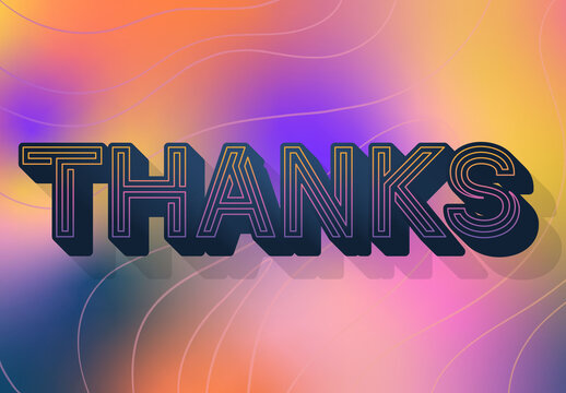 Thankful Text Effect with Colorful Abstract Background