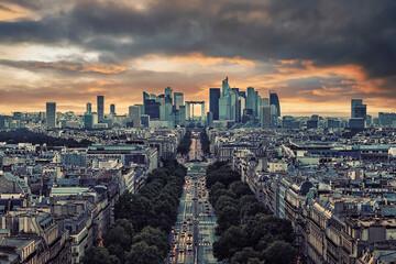 Fototapete - La Defense, the business district in Paris, France