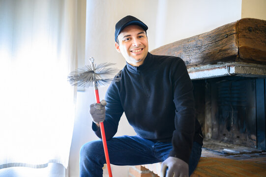 Young chimney sweep portrait in a house