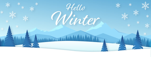 Winter season banner. Idyllic snowy winter landscape greeting card. Vector illustration of a winter mountain landscape with snowy fir trees, hills and snowfall on blue gradient background.