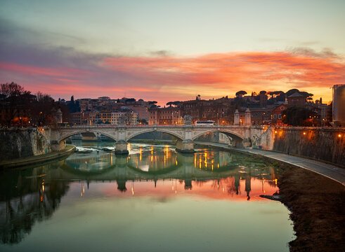 Ponte Vittorio Emanuele II is bridge across Tiber in Rome, Italy, architect Ennio De Rossi, connects historic centre of Rome with rione Borgo and Vatican, close to Roman Pons Neronianus.