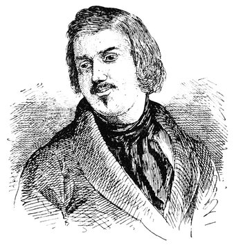 Portrait of Honore de Balzac - a French novelist and playwright. Illustration of the 19th century. White background.