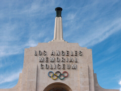 Los Angeles Memorial Coliseum sign on top of building