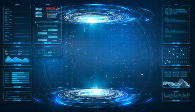 Futuristic circle vector HUD, GUI, UI interface screen design. Abstract style on blue background. Abstract futuristic technology interface design innovation concept background. Vector illustration