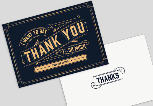 Vintage Thank You Greeting Card Layout with Envelope