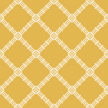 Geometric square texture. Abstract vector seamless pattern with small rhombuses, diamonds, squares. Elegant geo background. Yellow mustard color. Repeatable design for decor, fabric, tablecloth, wrap