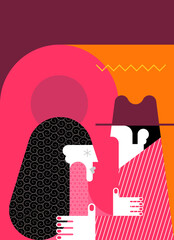 Adult couple saying goodbye vector illustration. Flat design vintage style illustration of man in suit and woman in dress looking at each other.