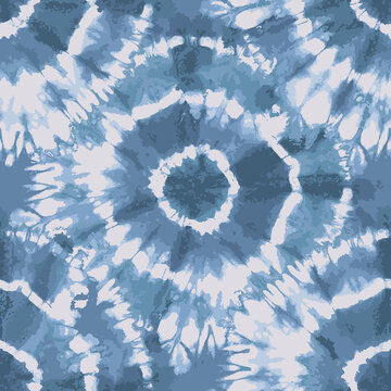 Blue Tie Dye traditional circular repeat pattern
