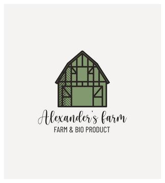 tampon ferme, producteur bio, vente de produits à la ferme, épicerie, logo, label, cachet, rétro, trait, illustration