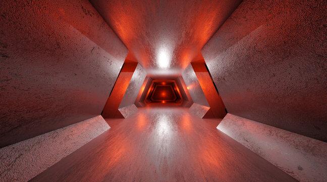 3D Illustration of a dark Interior.