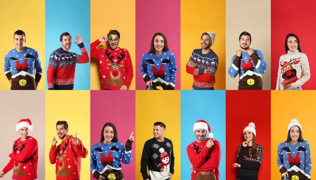 Collage with photos of men and women in different Christmas sweaters on color backgrounds