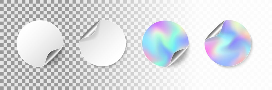 Round empty stickers with rolled corner and shadow. Realistic blank white and iridescent promotional labels with curled edge. Adhesive circle price tag mockup. Vector illustration