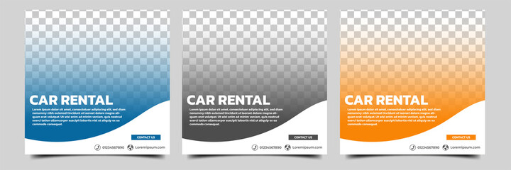 Fototapeta Set of editable square banner template. Car rental banner with black, orange and blue color background. Flat design vector with photo collage. Usable for social media, story and web internet ads.