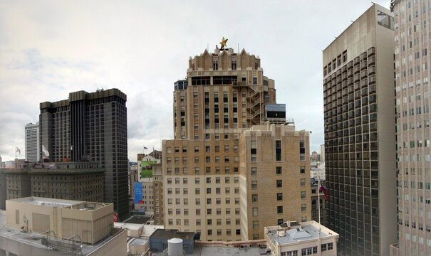 Aerial Panoramic of Sir Francis Drake Hotel and St. Francis San Francisco on Union Square