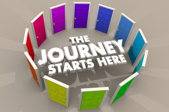 The Journey Starts Here Doors to Opportunity Future 3d Illustration
