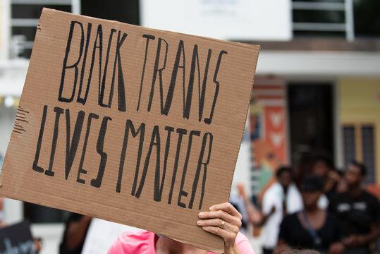 Miami, FL, USA - JUNE, 2020: Black Trans Lives Matter. Poster.