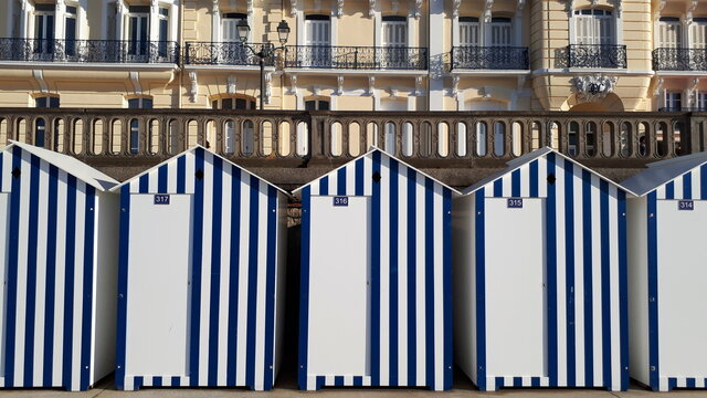 Beach Cabins Against In City
