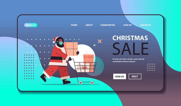 african american santa claus in mask pushing trolley cart full of gift boxes happy new year merry christmas holidays celebration concept horizontal copy space full length vector illustration