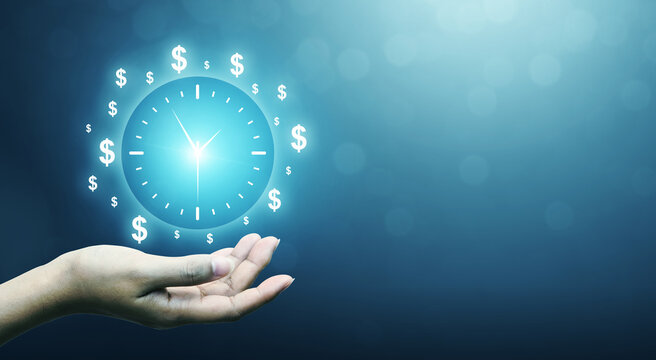 Hand holding sign clock. Concept business time is money