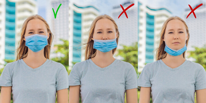 How to wear a mask. The wrong way to wear a mask on the chin and open nose is shown and the correct one. COVID-19 Pandemic Coronavirus Woman in city street wearing face mask protective for spreading