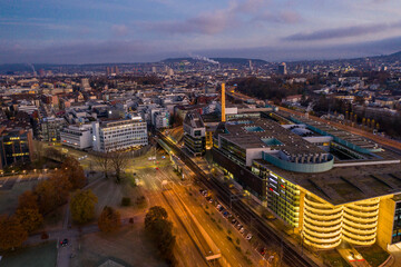 Fototapeta arial view of zurich in the christmas time
