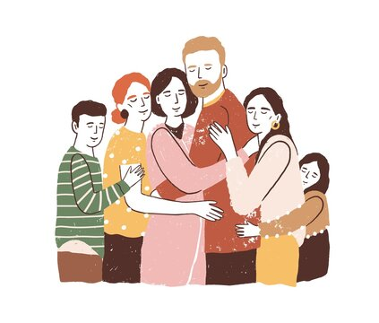 Reunion concept. Big family embracing and supporting each other. Parents with children have happy healthy relationships. Flat textured vector illustration isolated on white background
