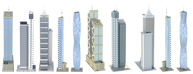 Fototapeta Set of high detailed corporate tall buildings with fictional design and cloudy sky reflection - isolated, various sides view 3d illustration of skyscrapers