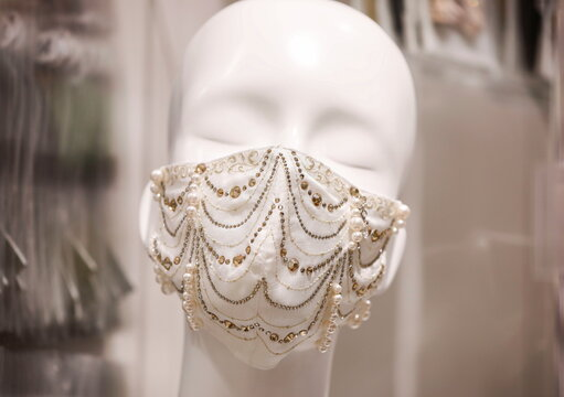 A luxury face mask decorated with a 0.70-carat diamond, platinum and Swarovski crystals which is sellig for one million yen ($9,640), is displayed at Mask.com in Tokyo