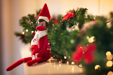 Elf on the shelf in mask. Christmas decoration