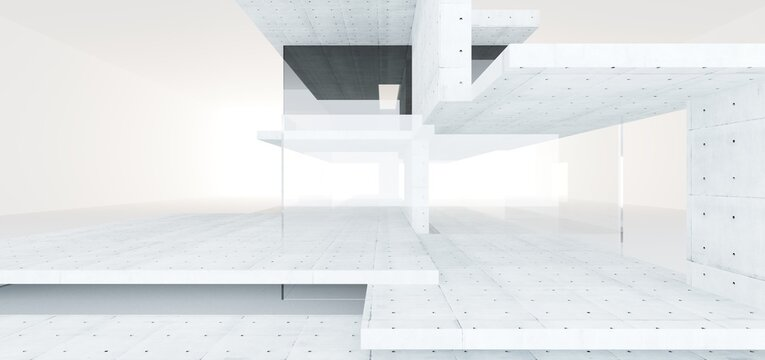Abstract architectural minimalistic background. Contemporary showroom. Modern concrete exhibition tunnel. Empty gallery. Backlight. 3D illustration and rendering.