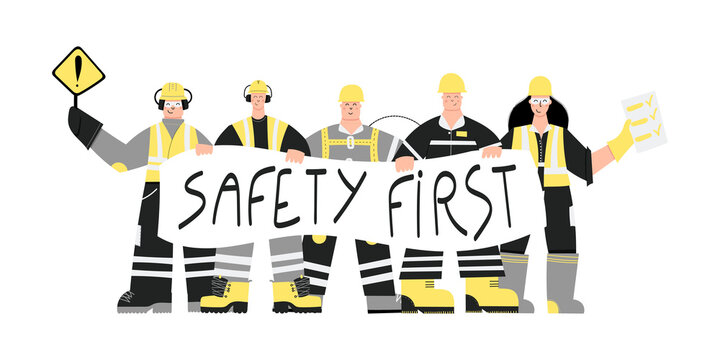 Construction or factory industrial workers wearing personal protective equipment with Safety first poster in hands. Workers character design. Health and safety at work. PPE