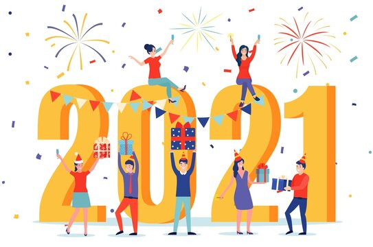 2021 Happy New Year business card. Happy people in santa hat toasting champagne with confetti. Vector illustration in flat style