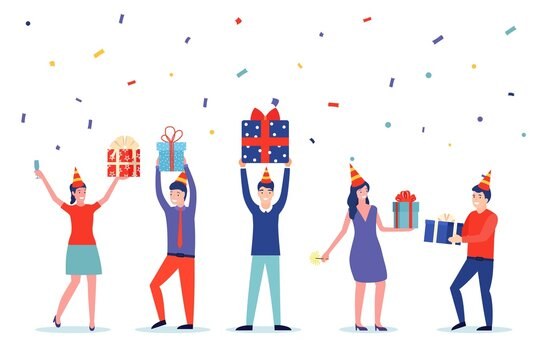 Funny business people people with gifts. new year and birthday party. Celebration idea concept. Vector illustration in flat style