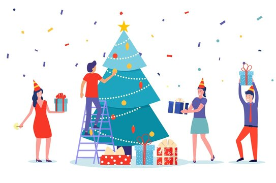 People set christmas tree decoration and give present to each other. celebrate new year. use for, landing page, template, ui, web, homepage, poster, banner, flyer. Vector illustration in flat style