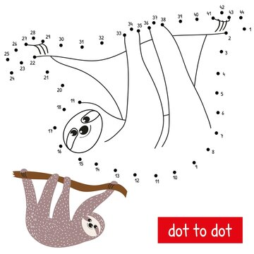 A cute sloth hanging on a branch. Connect the dots in order. Educational numbers game vector illustration. Coloring book page with color pattern.