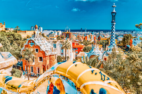 BARCELONA, SPAIN - SEPT 02,2014 :Gorgeous and amazing Park Guel in Barcelona. In 1984 park has been declared UNESCO by the World heritage of mankind. Park Guell (1914)