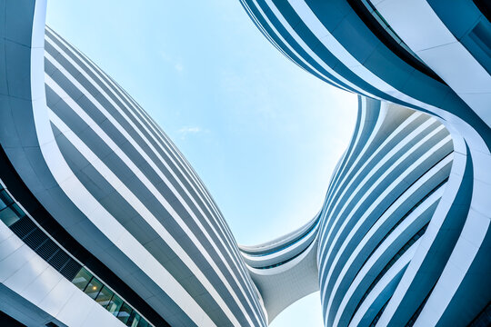 Beijing,China - September 20,2020:Galaxy Soho Building is an urban complex opened in 2014,designed by architect Zaha Hadid.The complex offers shops,offices and entertainment facilities.