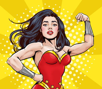 Pop Art super hero woman. Girl power advertising poster. Comic woman showing her biceps. We Can Do It.