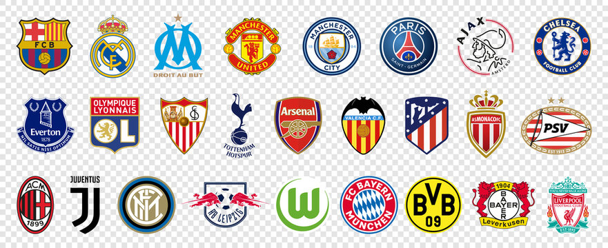 UEFA most popular professional football clubs. Top 26 clubs in Europe. Logo Juventus, Manchester City, Paris Saint-Germain, Liverpool, Bayern Munchen, Sevilla, Manchester United, Arsenal,