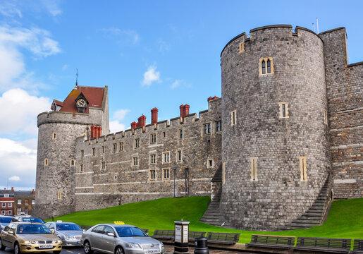Windsor, UK - April 2018: Walls of Windsor Castle in Berkshire
