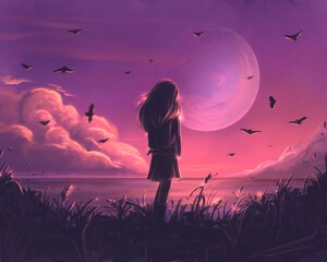 Child and Moon at sunset