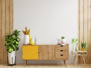 Obraz Cabinet mockup in modern empty room,white wall. - fototapety do salonu