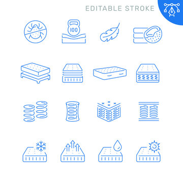 Mattress related icons. Editable stroke. Thin vector icon set