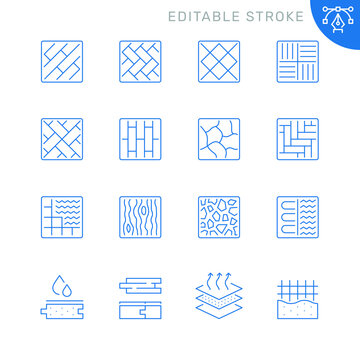 Floor and material related icons. Editable stroke. Thin vector icon set