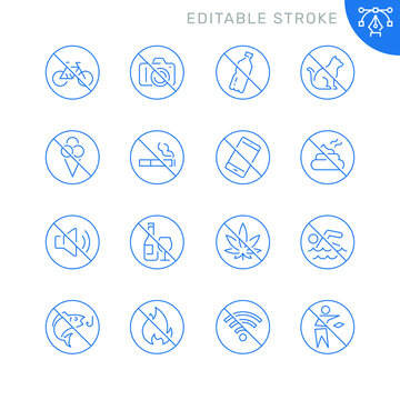 Prohibited signs related icons. Editable stroke. Thin vector icon set