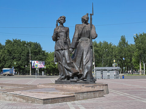 Monument to first Komsomolets (members of All-Union Leninist Young Communist League) of Nizhny Tagil, Russia