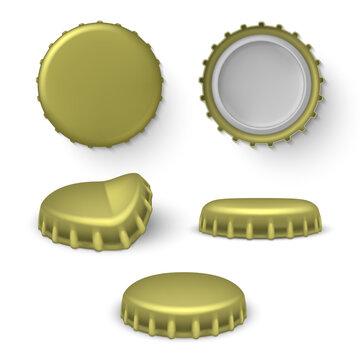 Metal beer, beverage bottle crown caps set