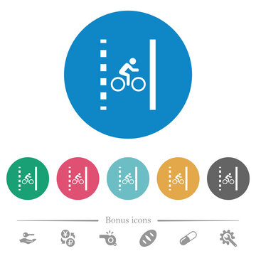 Bicycle lane flat round icons