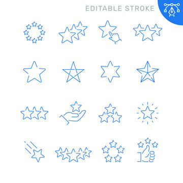 Star related icons. Editable stroke. Thin vector icon set