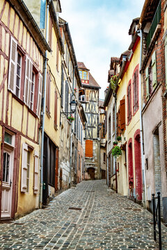 Old medevial street with ancient houses and cobblestones in Old house in Joigny, Burgundy France